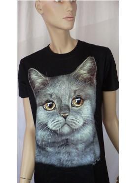 T-Shirt Femme Imprimé Animaux Chat