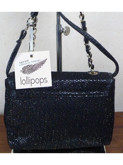très jolie sac handbag noir paillette