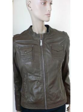 veste femme cuir marron giorgo paris