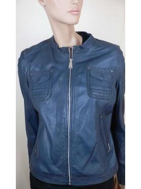 veste femme cuir agathe bleu giorgo paris