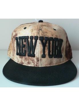 Casquette New York couleur beige visière noire hiphop