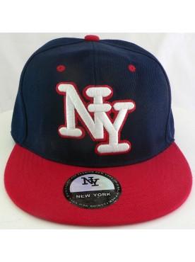 Casquette New York couleur bleu marine rouge