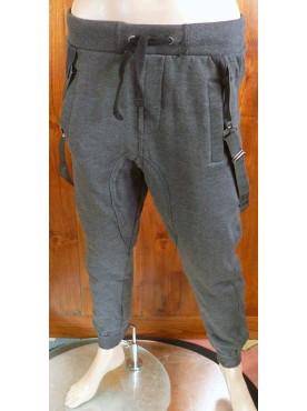 pantalon sarouel jogging gris cabaneli avec bretelles