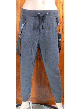 pantalon sarouel jogging bleu nuit cabaneli avec bretelles