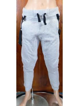 pantalon sarouel jogging gris clair cabaneli avec bretelles