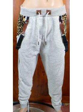 pantalon sarouel jogging gris poches léopard cabaneli avec bretelles