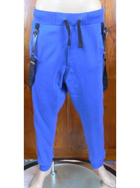 pantalon sarouel jogging bleu roy cabaneli avec bretelles