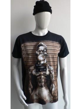 T-Shirt noir Imprimé popeye le prisonnier