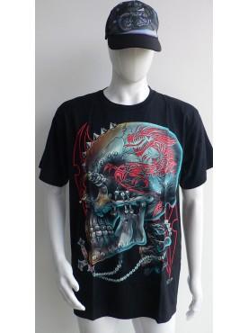 T-Shirt Rock Chang Imprimé skull tête de mort 3 D