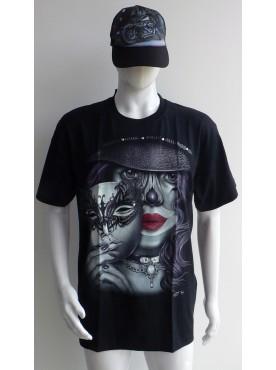 T-Shirt Rock Chang Imprimé visage avec un masque 3 D