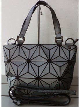 petit sac cabas simili-cuir vernis et simili-cuir losanges gris
