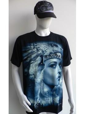 T-Shirt Rock Chang Imprimé d'une indienne et de loup