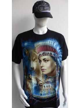 T-Shirt Rock Chang Imprimé d'une indienne et de loups