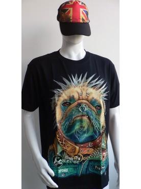 T-Shirt Rock Chang Imprimé d'un buldog francais