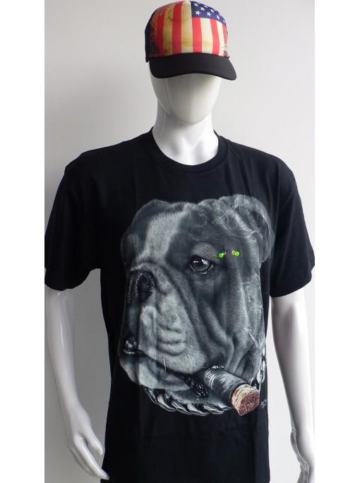 T-Shirt Rock Chang Imprimé dog piercing cigare