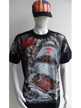 T-Shirt Rock Chang Imprimé bateau pirate