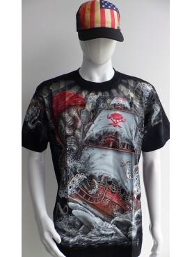 T-Shirt Rock Chang Imprimé bateau pirate