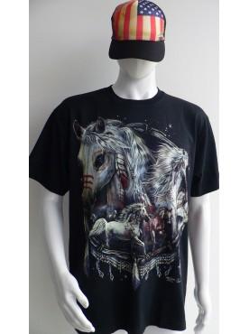 T-Shirt Rock Chang Imprimé de beaux chevaux indiens
