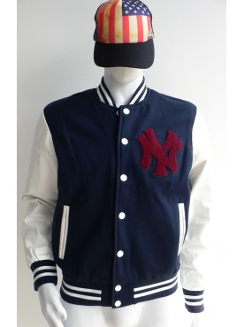 veste base ball blouson teddy New York bleu marine