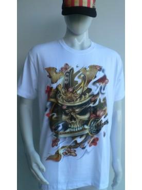T-Shirt blanc Rock Chang Imprimé masque de samouraï