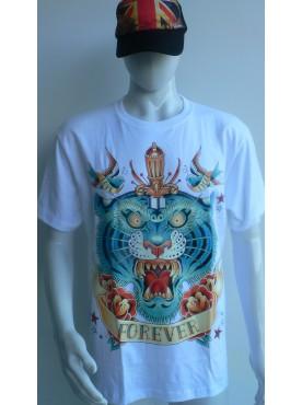 T-Shirt blanc Rock Chang Imprimé le tigre forever