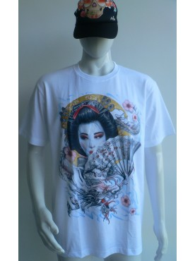 T-Shirt blanc Rock Chang Imprimé la geisha dragon