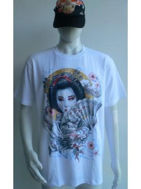 T-Shirt blanc Rock Chang Imprimé la geisha dragon