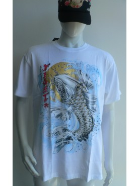 T-Shirt blanc Rock Chang Imprimé carpe koi