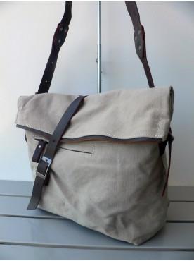 sac bandoulière toile et cuir sac d'école sac militaire sac messager unisexe