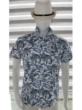 chemise manche courte imprimé carpes koii