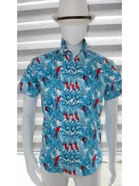 chemise manche courte imprimé perroquet