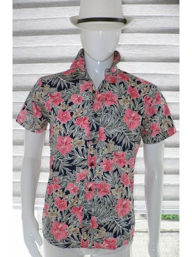 chemise manche courte imprimé fleurs orchidées rose