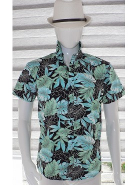 chemise manche courte imprimé feuilles exotique