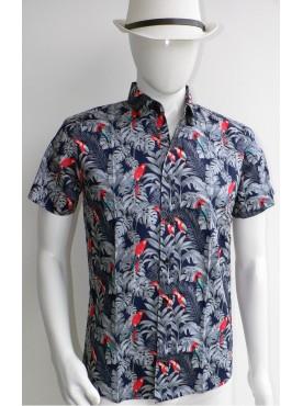 chemise manche courte bleu marine imprimé perroquet rouge