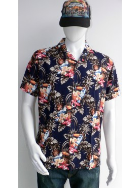 chemise fluide manches courtes imprimées oiseaux kakatoes