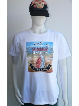 t-shirt homme blanc style surfline avec la planche