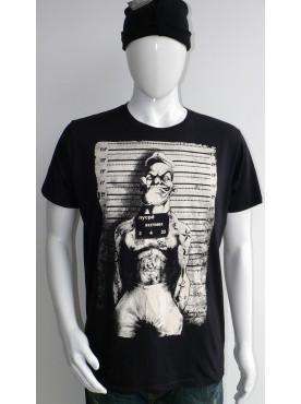 T-Shirt noir Imprimé popeye le prisionnier