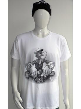 T-Shirt blanc Imprimé popeye joueur au casino