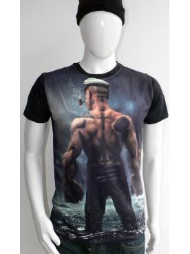 T-Shirt noir Imprimé popeye le marin
