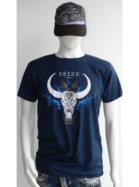 t-shirt seize homme bleu crane de buffalo skull