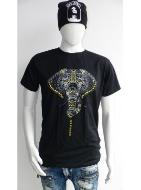 t-shirt seize homme noir imprimé la tête de l'éléphant
