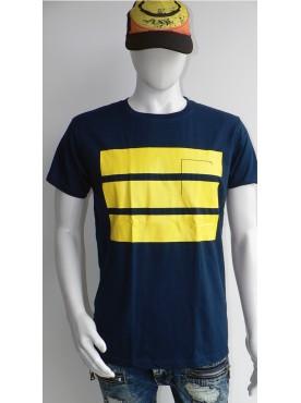 t-shirt seize homme bleu marine bandes jaune