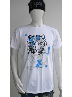 t-shirt homme blanc seize imprimé le tigre