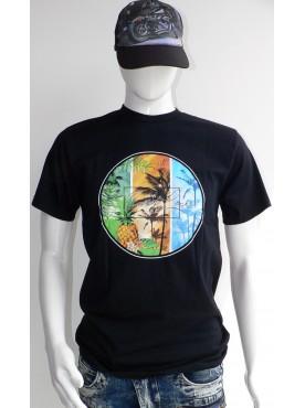 t-shirt homme noir style surfline palmiers ananas