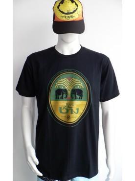 t-shirt homme noir imprimé bière chang Thaïlande