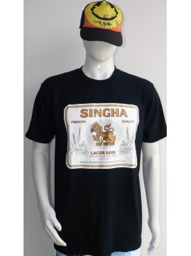 t-shirt homme noir imprimé bière Singha Thaïlande