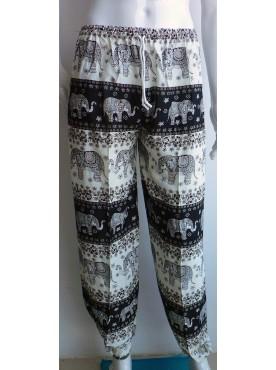 pantalon léger mixte imprimé éléphants couleur noir