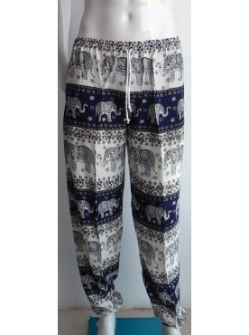 pantalon léger mixte imprimé éléphants couleur bleu marine