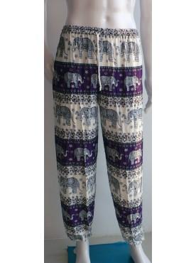 pantalon léger mixte imprimé éléphants couleur violet