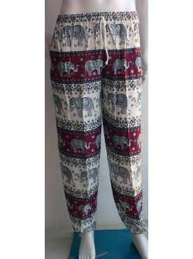 pantalon léger mixte imprimé éléphants couleur rouge